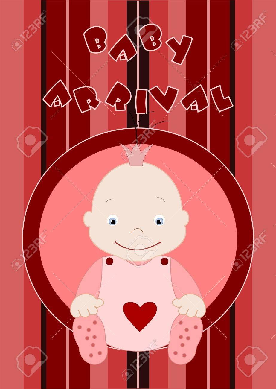 Baby arrival - cute baby girl in pink Stock Vector - 12798791