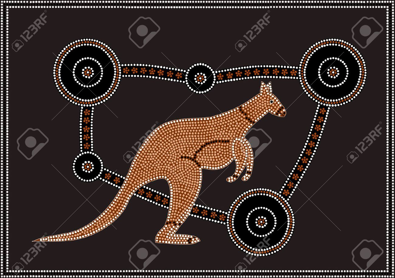 a vector illustration based on aboriginal style of dot painting