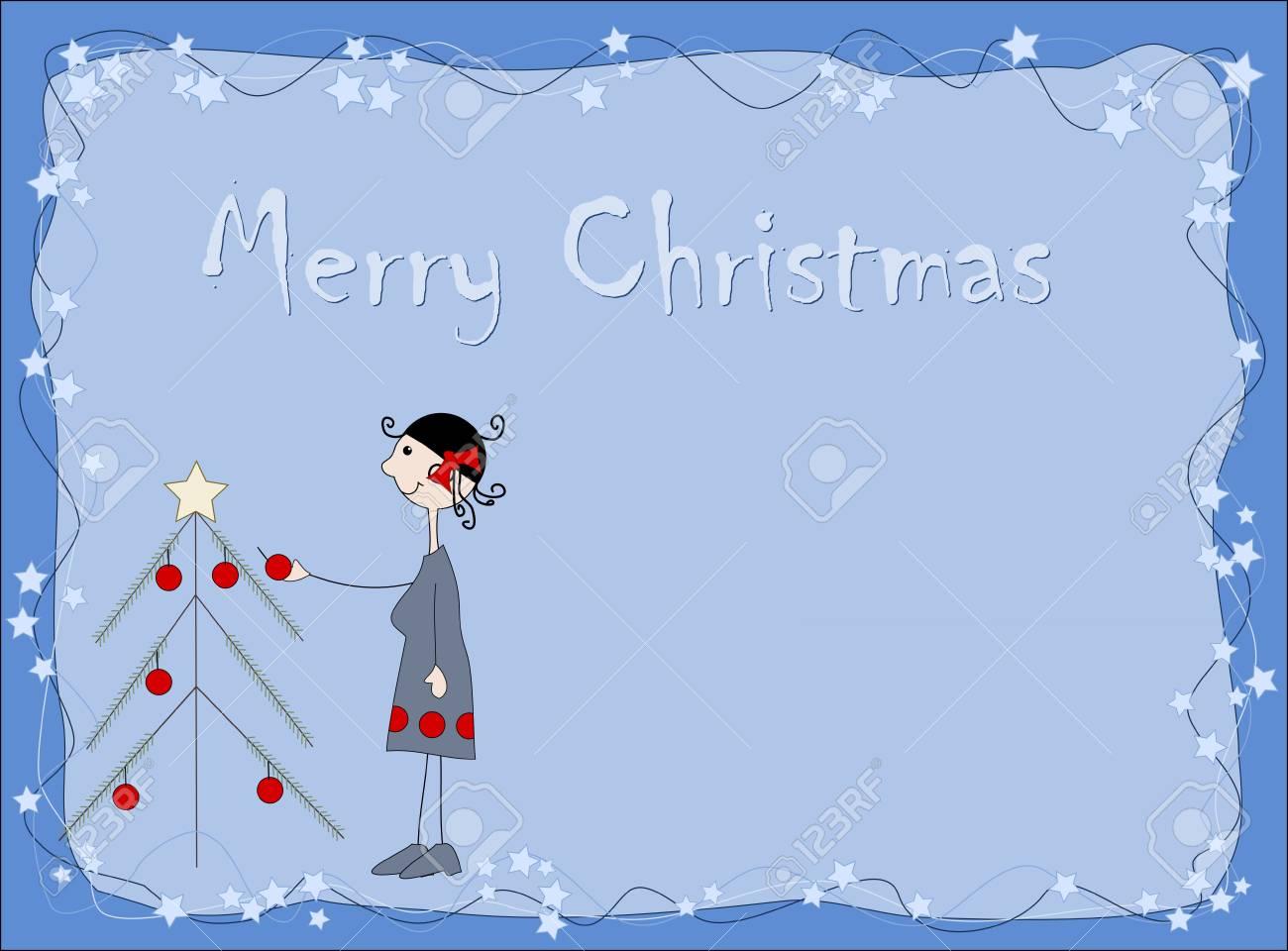 Merry Christmas - christmas tree and woman Stock Vector - 13733698