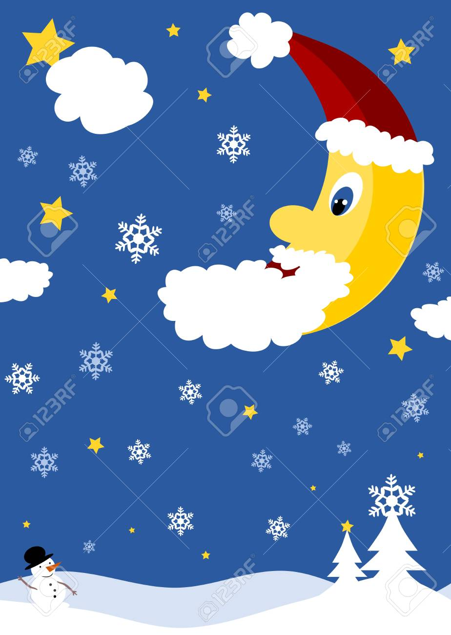 Christmas night with snowman and moon Stock Vector - 14331615