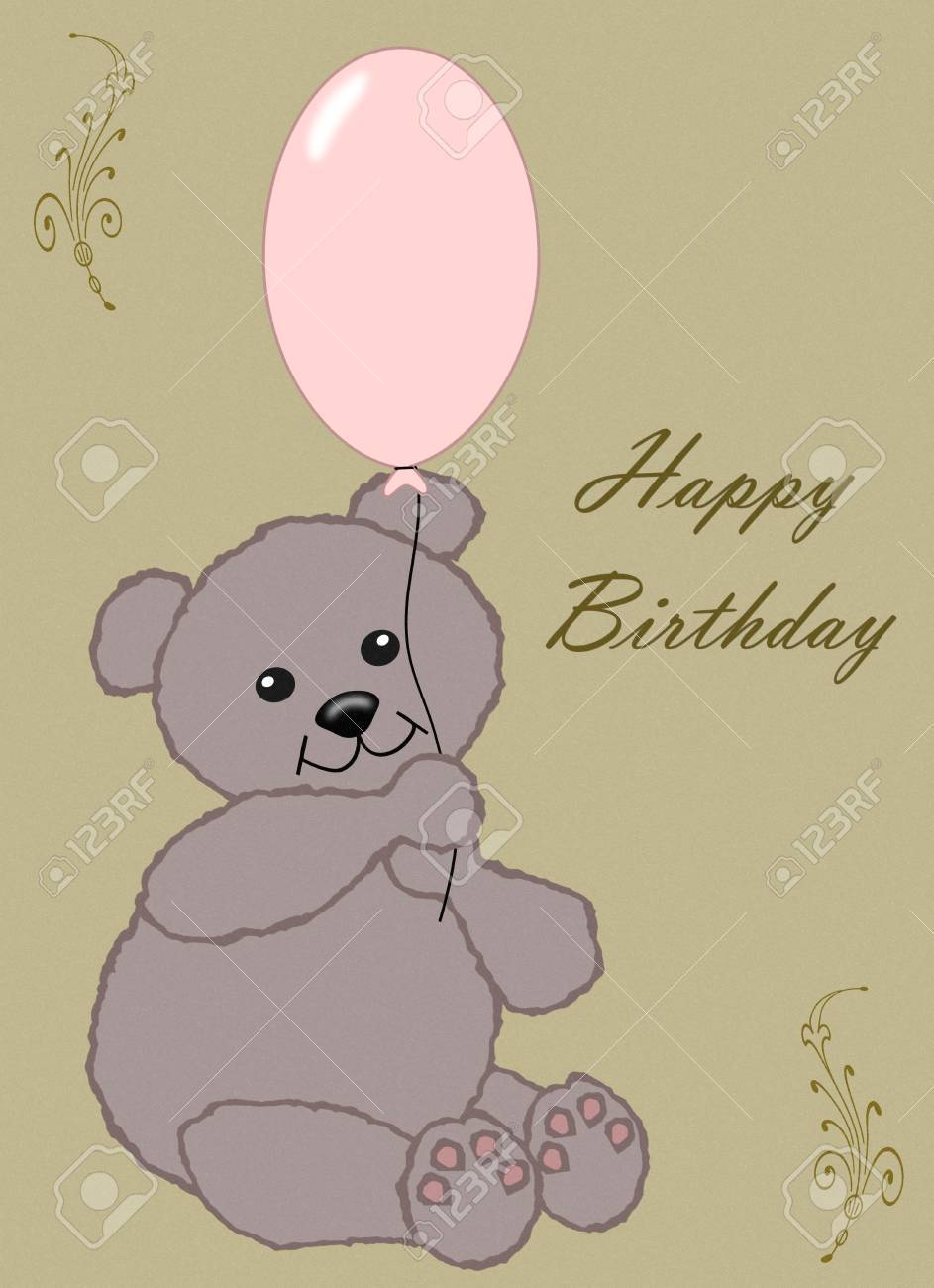 Happy Birthday - little brown teddy with pink balloon Stock Photo - 14390018
