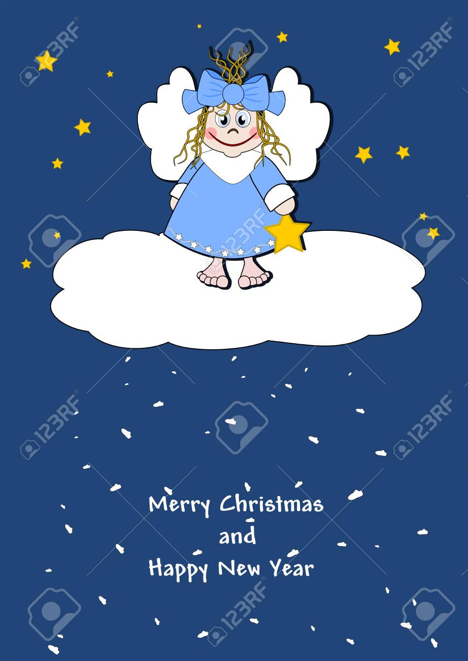 Cute little angel on a cloud Stock Vector - 15256861