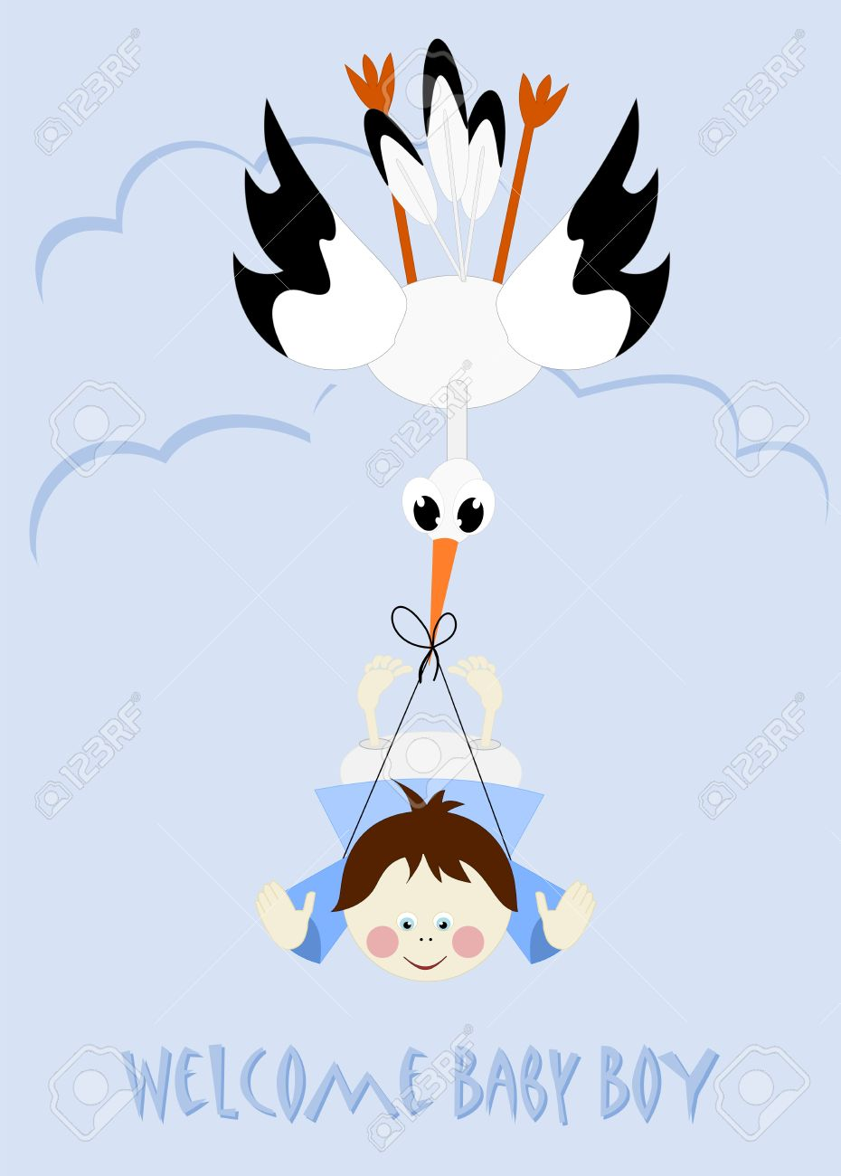 baby boy and stork welcome baby boy royalty free cliparts vectors