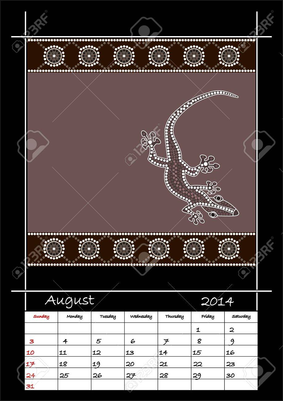 A calender based on aboriginal style of dot painting depicting lizard  - australian public holidays - august 2014 Stock Vector - 18176840