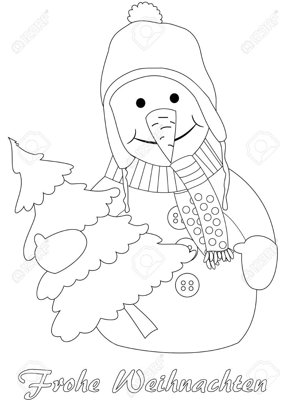 Glücklicher Schneemann mit Weihnachtsbaum Malvorlagen Deutsch Text Frohe Weihnachten Lizenzfreie Bilder