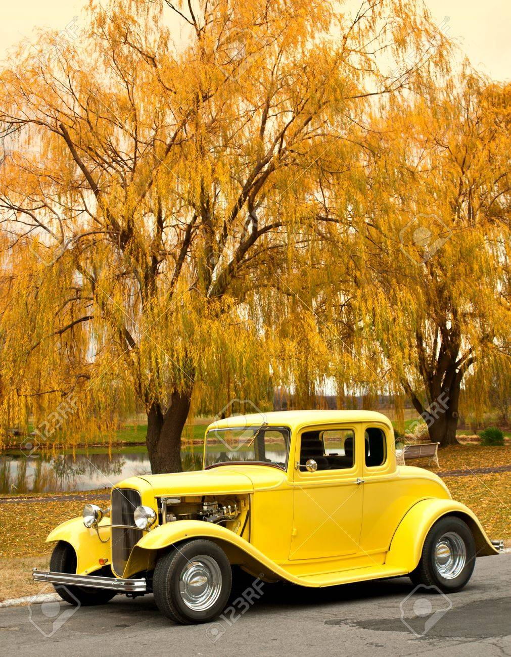 classic car in the countryside in autumn Stock Photo - 14627315