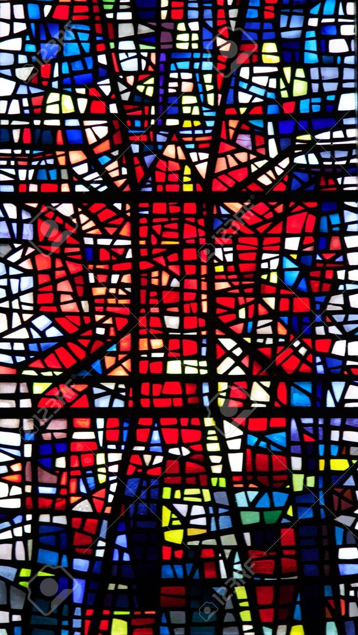 Colourful stained glass church window Skalholt Iceland Stock Photo - 959232