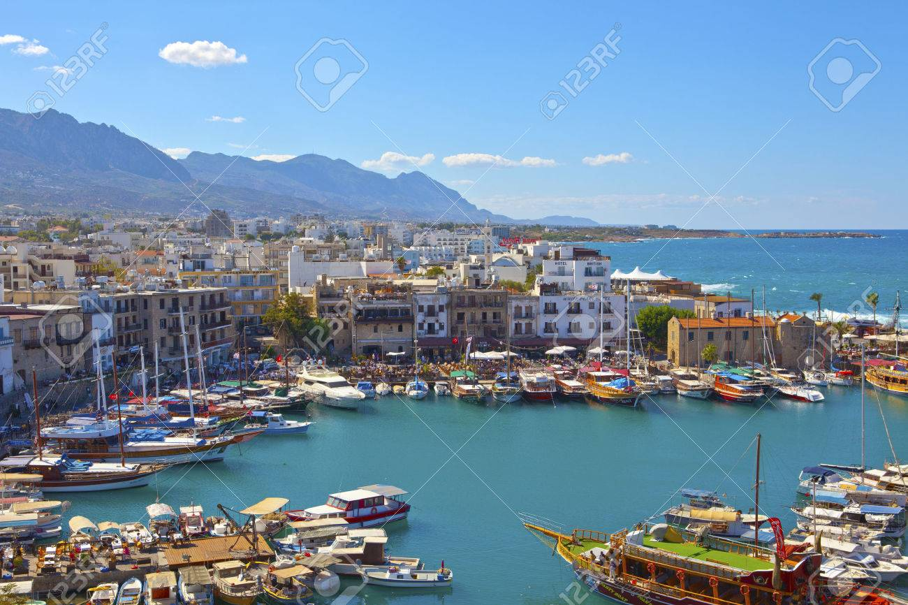 Scenic view of historic harbor and the old town in Kyrenia Girne on the Island of Cyprus, October 6, 2013 - 23117895