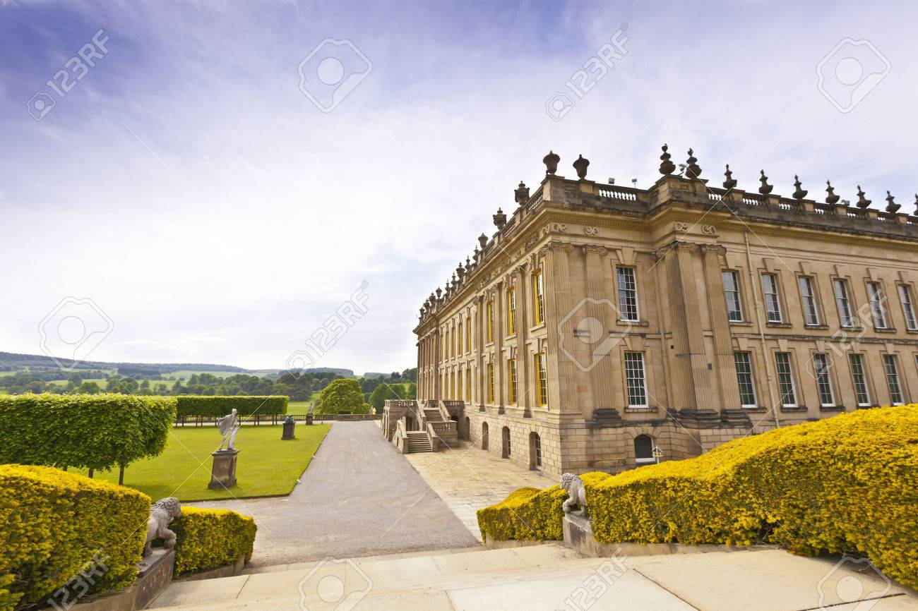 CHATSWORTH, UK - JUNE 19, 2013 Chatsworth House in the Peak District, England , home of the Duke and Duchess of Devonshire Cavendish family is the Country s most visited stately home - 29363578