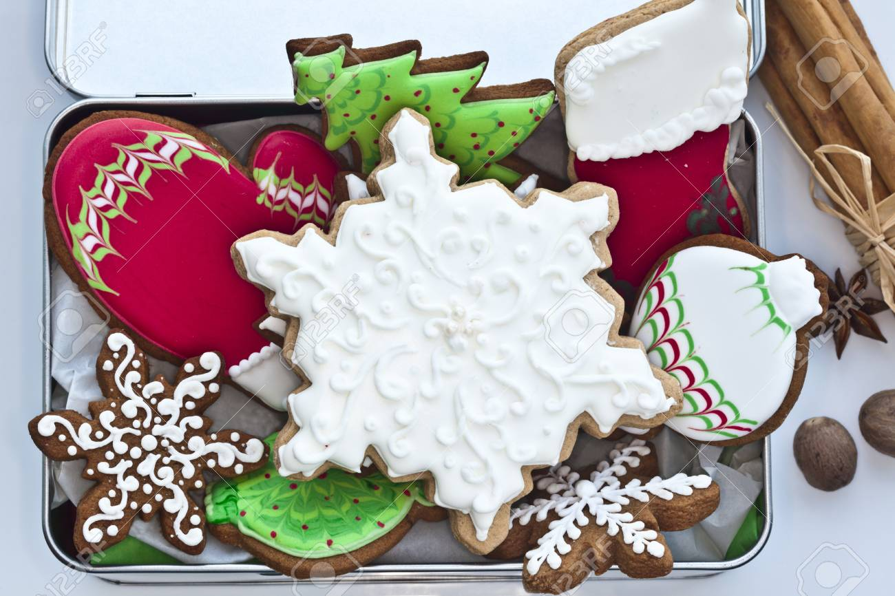 Festive Iced Gingerbread Cookies In Tin Box