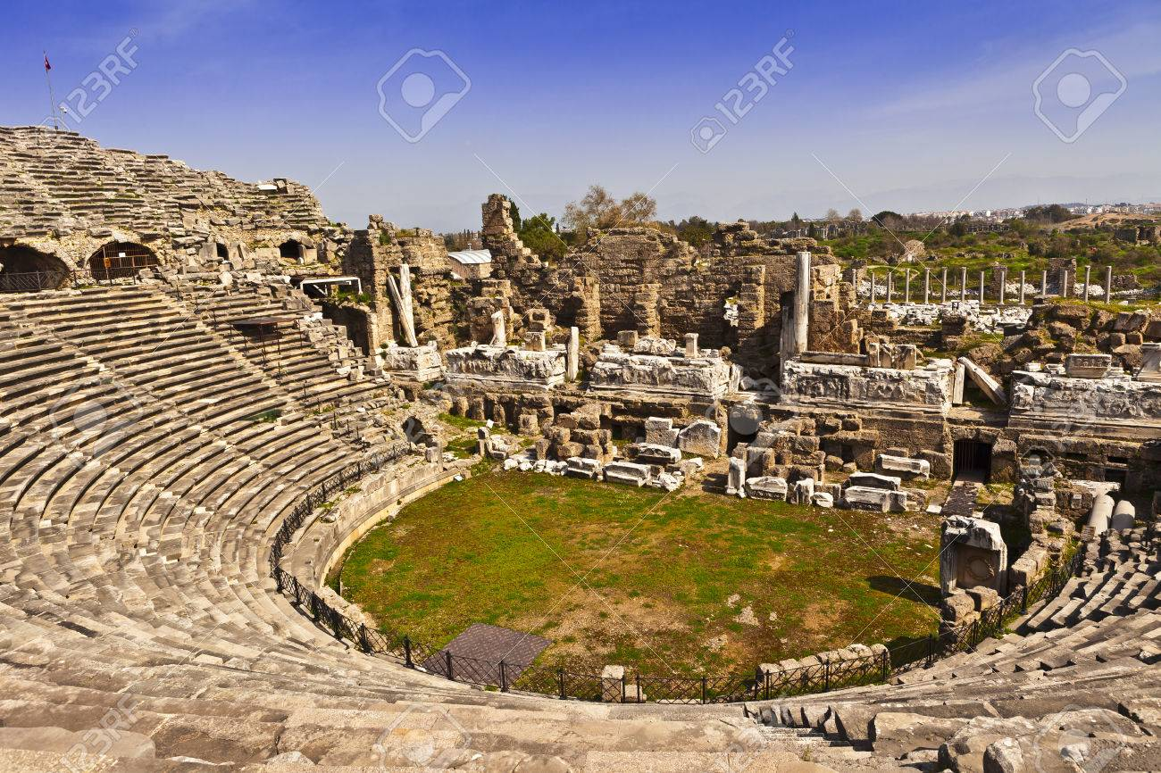 2nd Century AD Roman theater in Side, Turkey. - 38174394