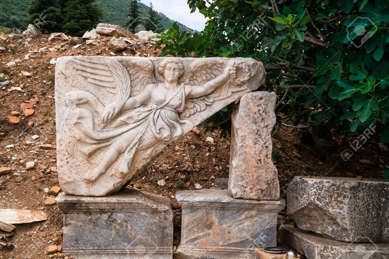 Stone carving of Nice or Nike, the Winged Goddess of Victory in Greek  Mythology at