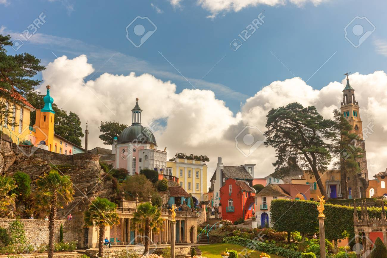 Popular tourist resort of Portmeirion with it's Italian village style architecture in Gwynedd, North Wales. - 108434236