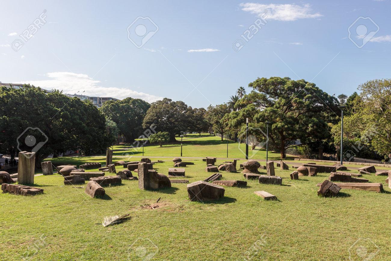 SYDNEY, AUSTRALIA - April 6, 2019: Memory is Creation sculptural group by Kimio Tsuchiya in Royal Botanic Gardens Sydney city centre, Australia. - 167251822