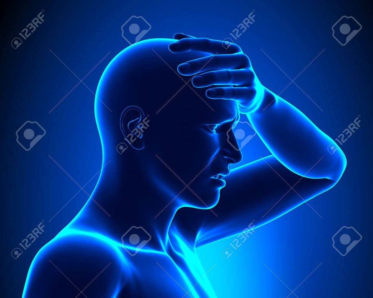 Head pain - side view Stock Photo - 19244758
