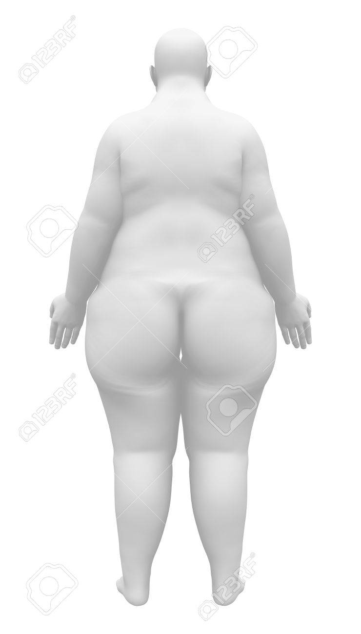 Obese Anatomy Female Figure - Back View Stock Photo, Picture And ...