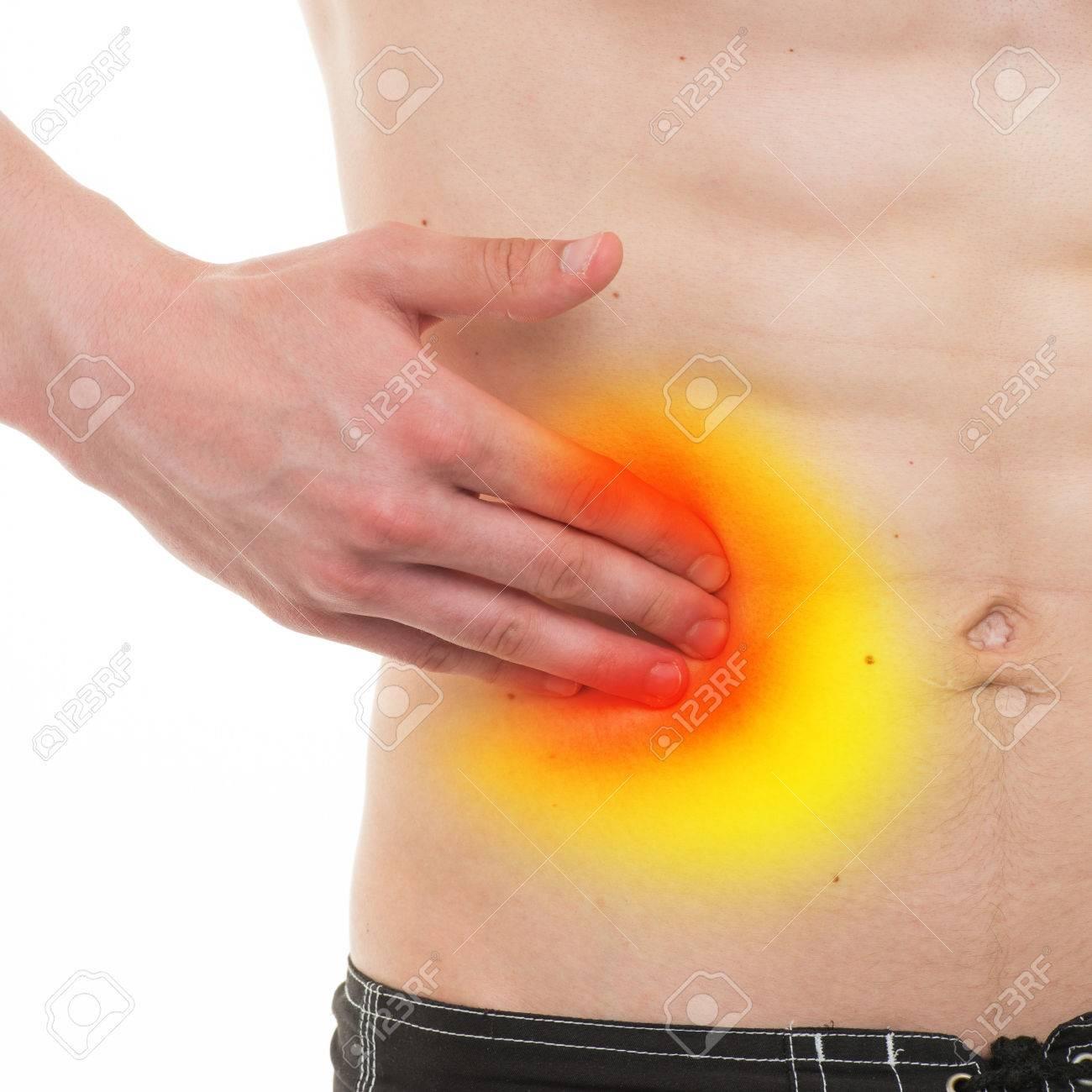Bauchschmerzen - Männliche Anatomie Rechten Seite Schmerzen Isoliert ...