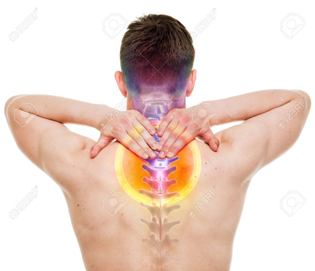 Nackenschmerzen - Male Hurt Halswirbelsäule Isoliert Auf Weiß - REAL ...
