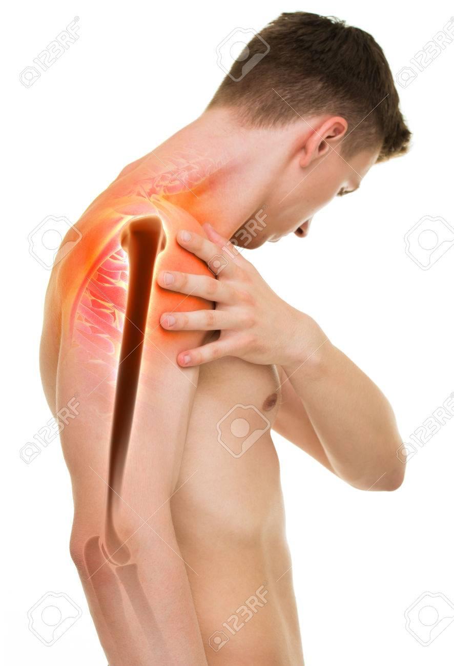 Schulterschmerzen - Anatomie Männlich Halten Schulter Isoliert Auf ...