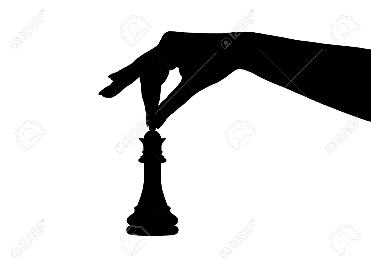 silhouette of a hand holding a chess piece isolated on white Stock Vector - 8275797