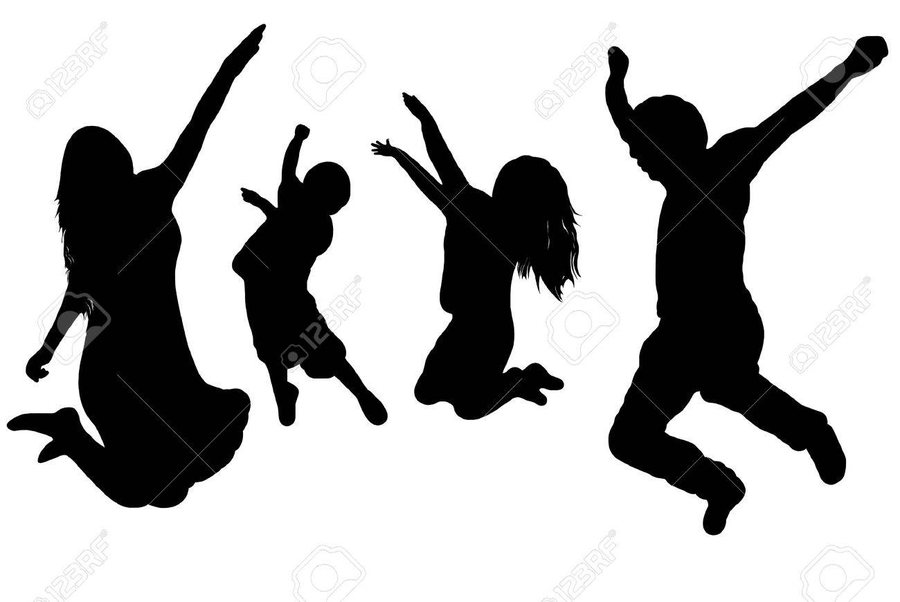 black silhouette of a jumping family Stock Vector - 8275800