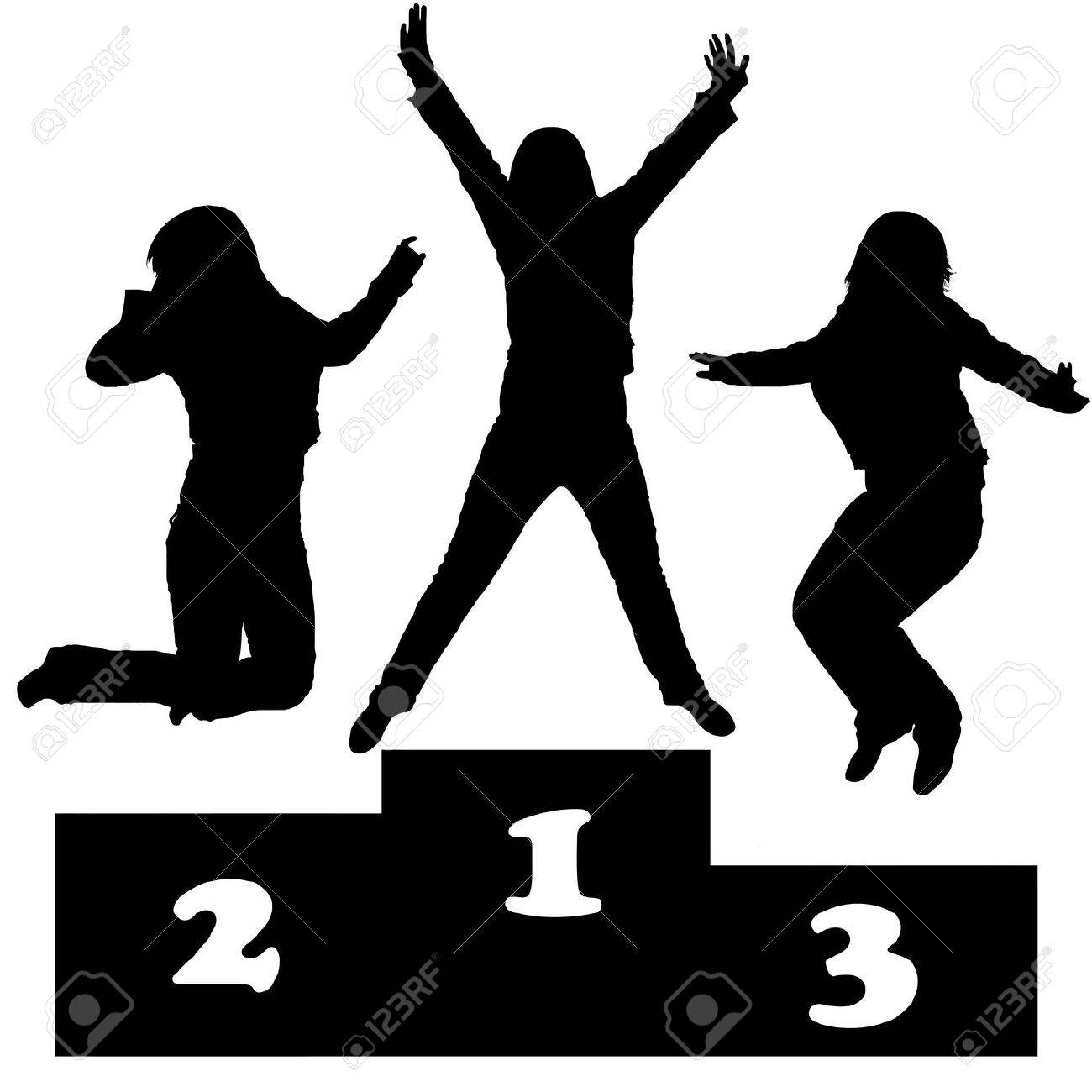 winners on a podium silhouettte Stock Vector - 8468238