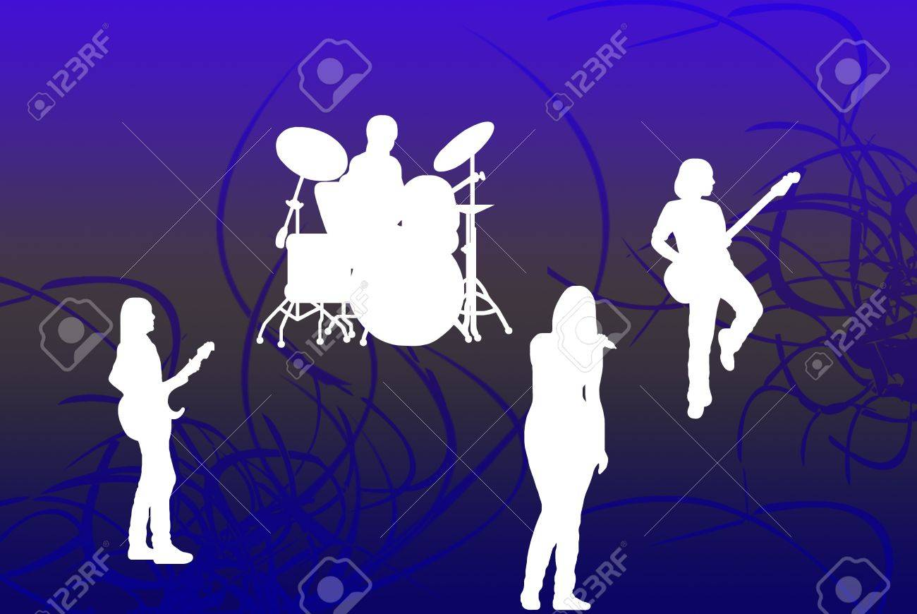 singing band silhouette Stock Photo - 8481242