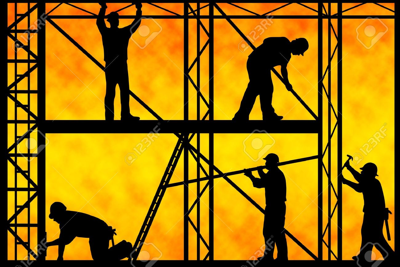 construction workers with orange gradient in background Stock Photo - 8791482