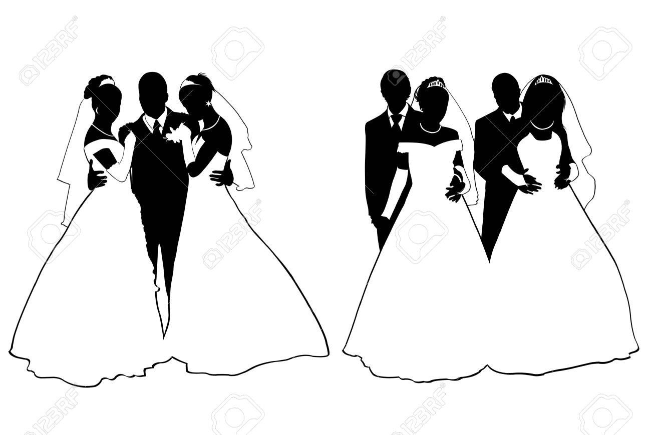 Wedding couple silhouette isolated on white - 9873674