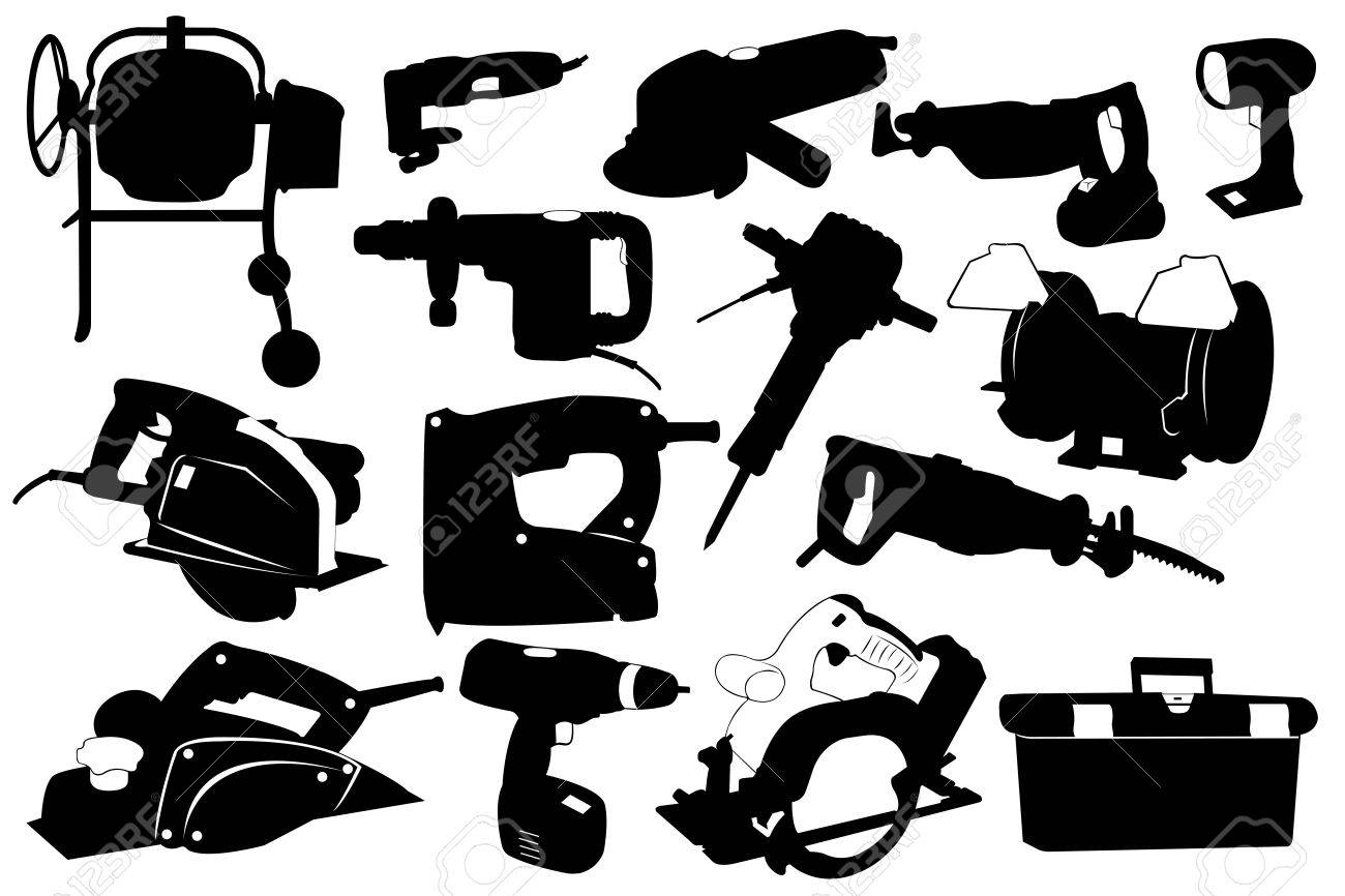 Electric tools isolated on white Stock Vector - 10440241