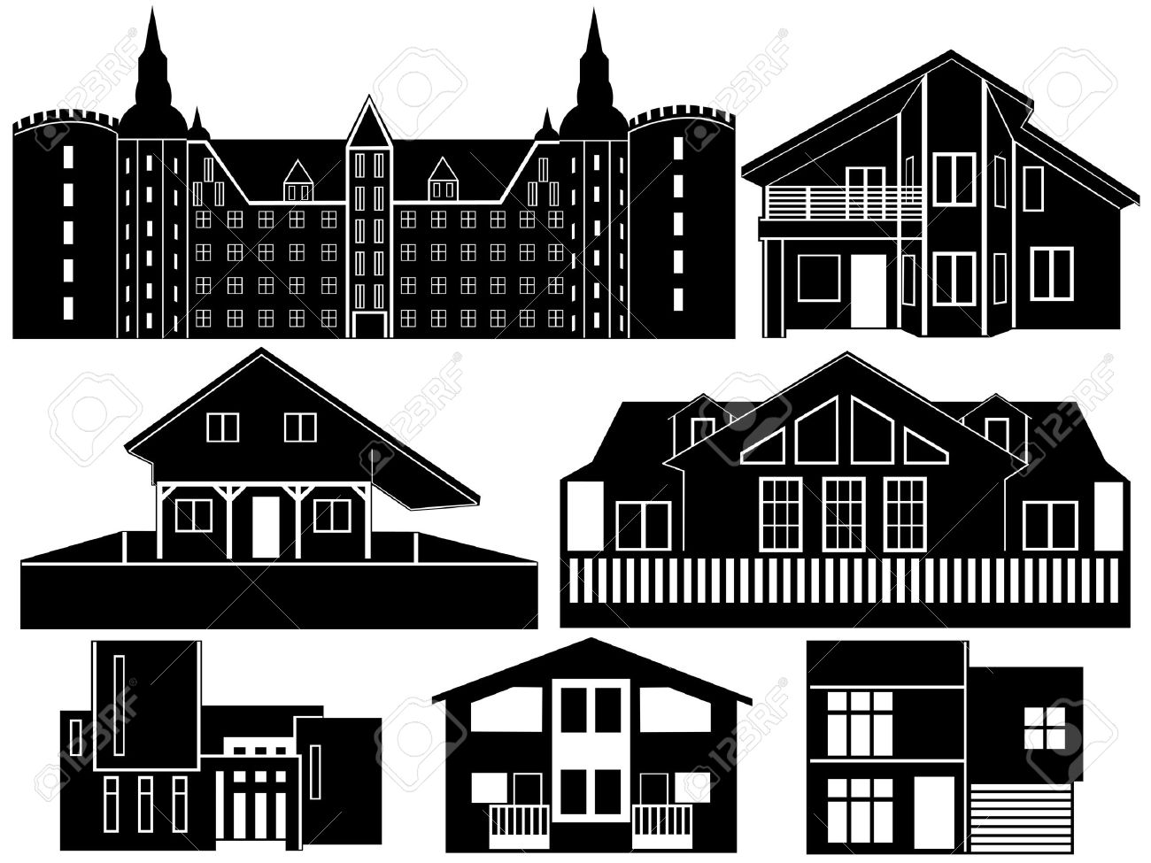 House silhouettes isolated on white Stock Vector - 10747057