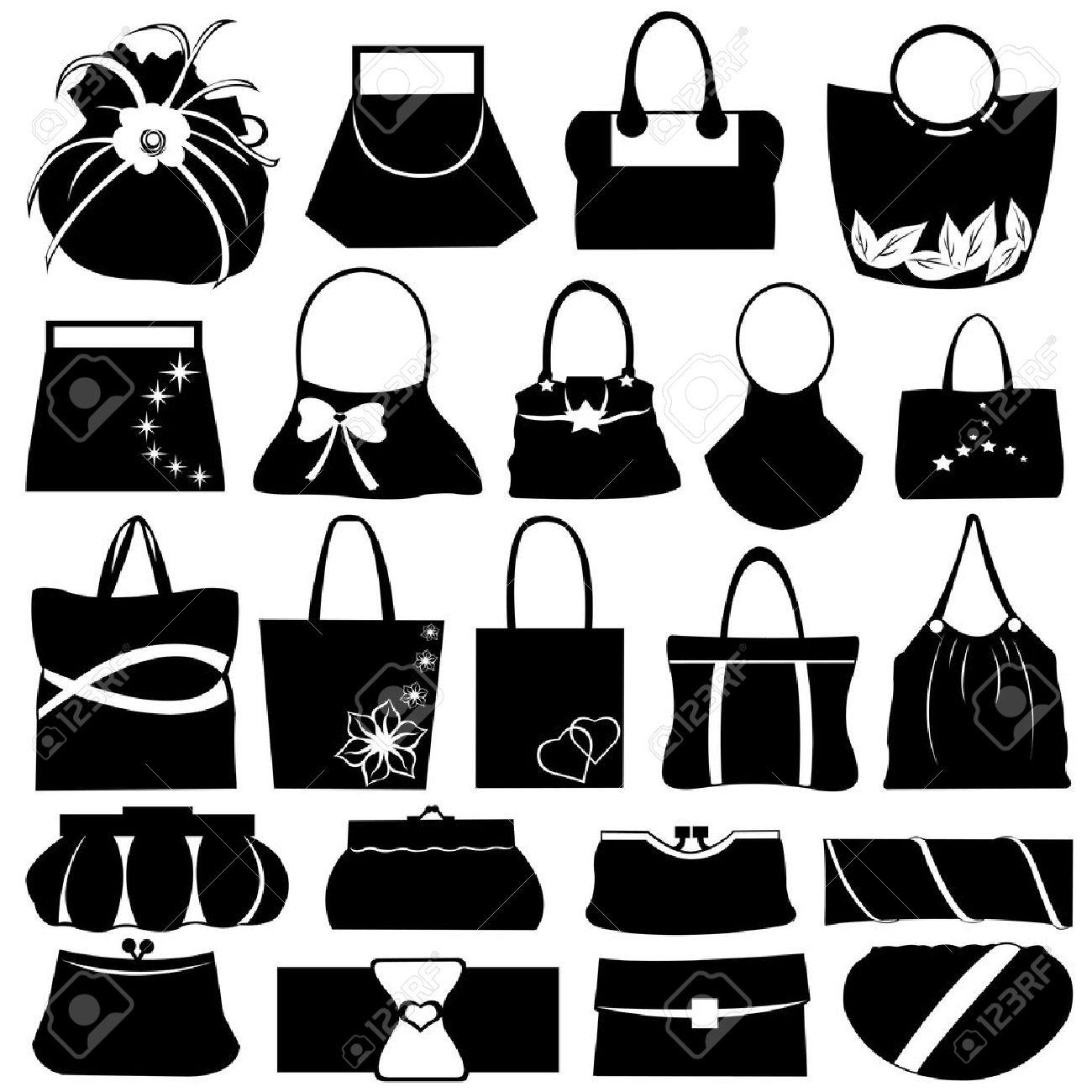 Female purse set isolated on white - 10888035