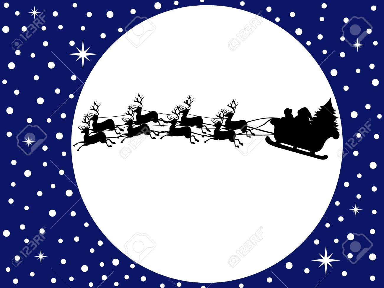 Santa claus driving in a sledge with blue sky in background - 10989656
