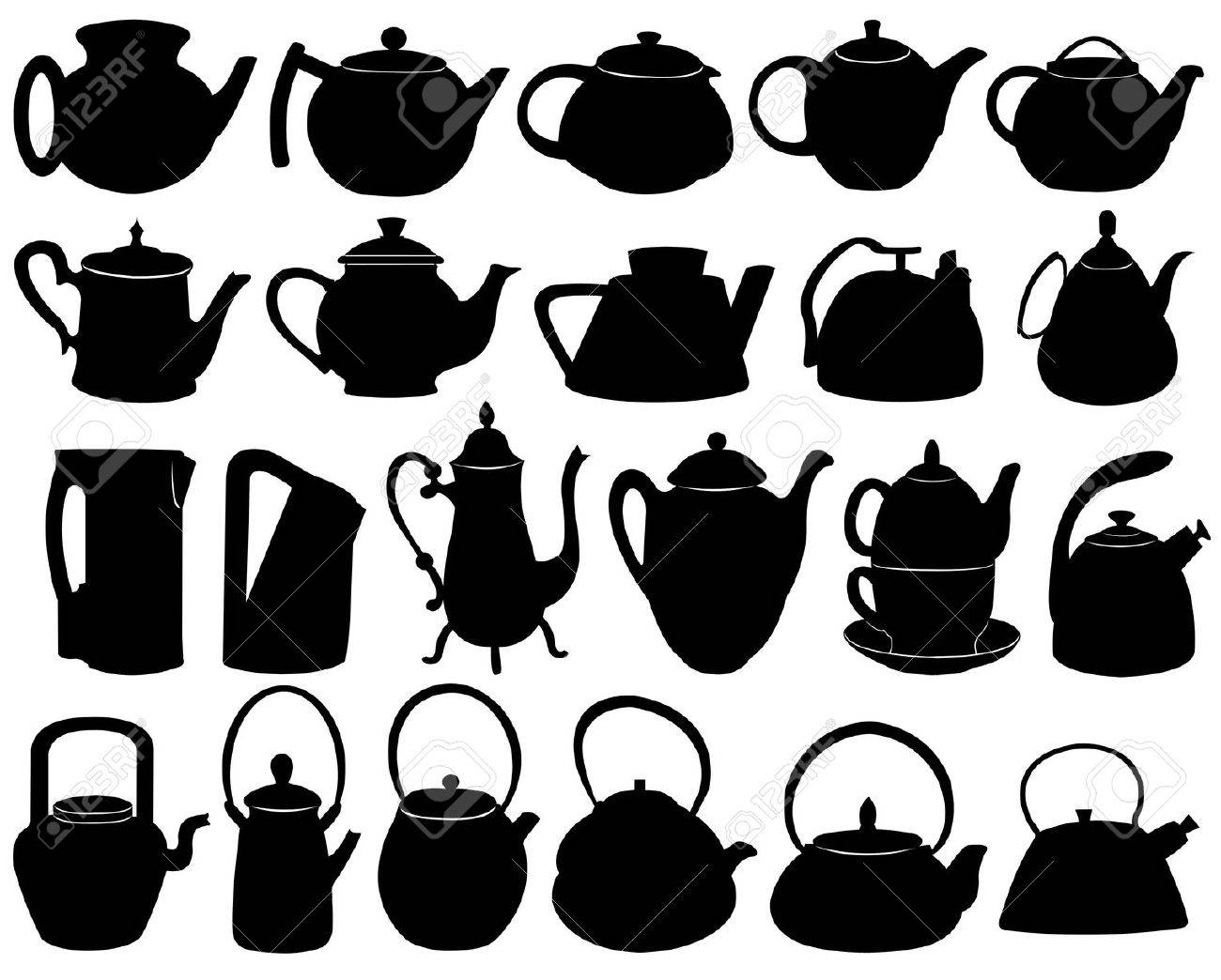 Teapots isolated on white - 10989660