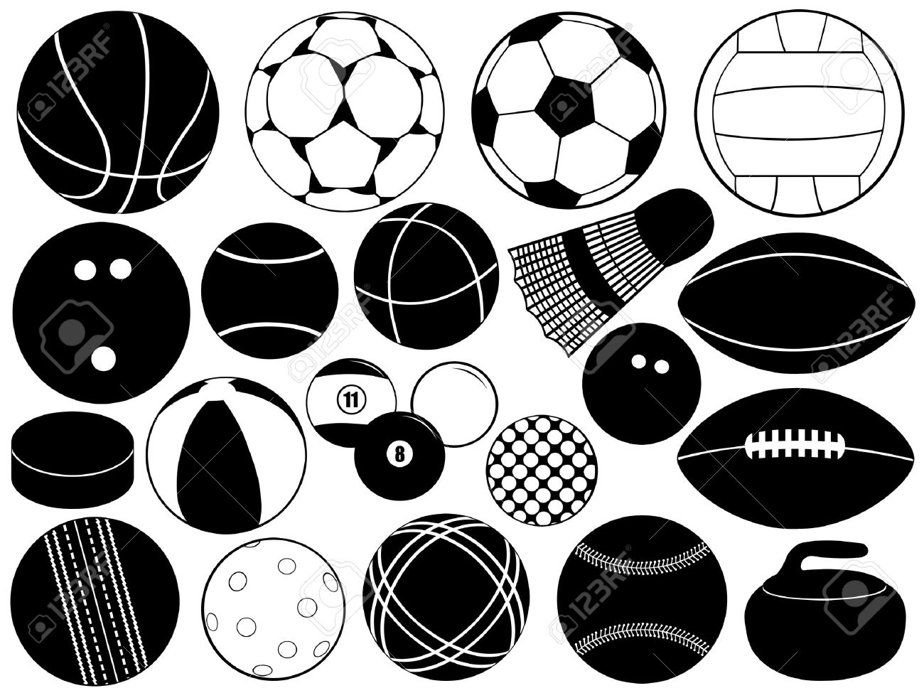Different game balls isolated on white Stock Vector - 11222232