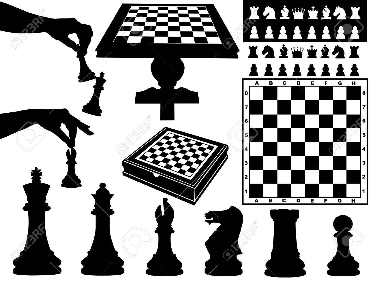 Illustration of chess pieces isolated on white - 11271954