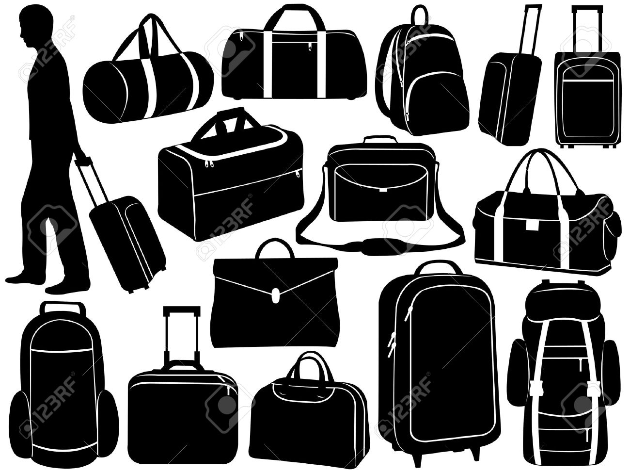 Different bags set isolated on white Stock Vector - 11765751