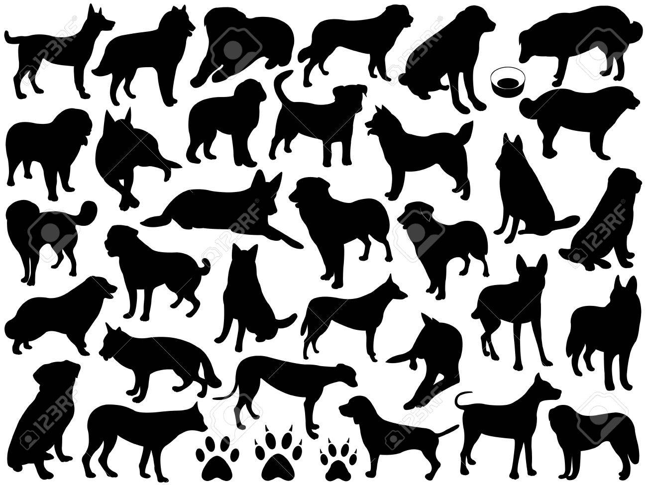 Dogs silhouette collage isolated on white - 12101235