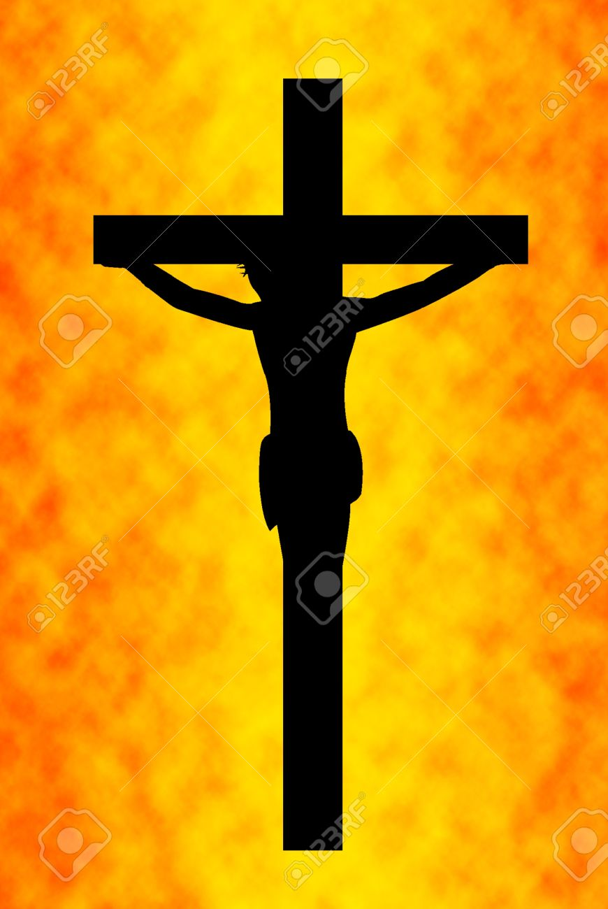 jesus on the cross with orange in background stock photo picture