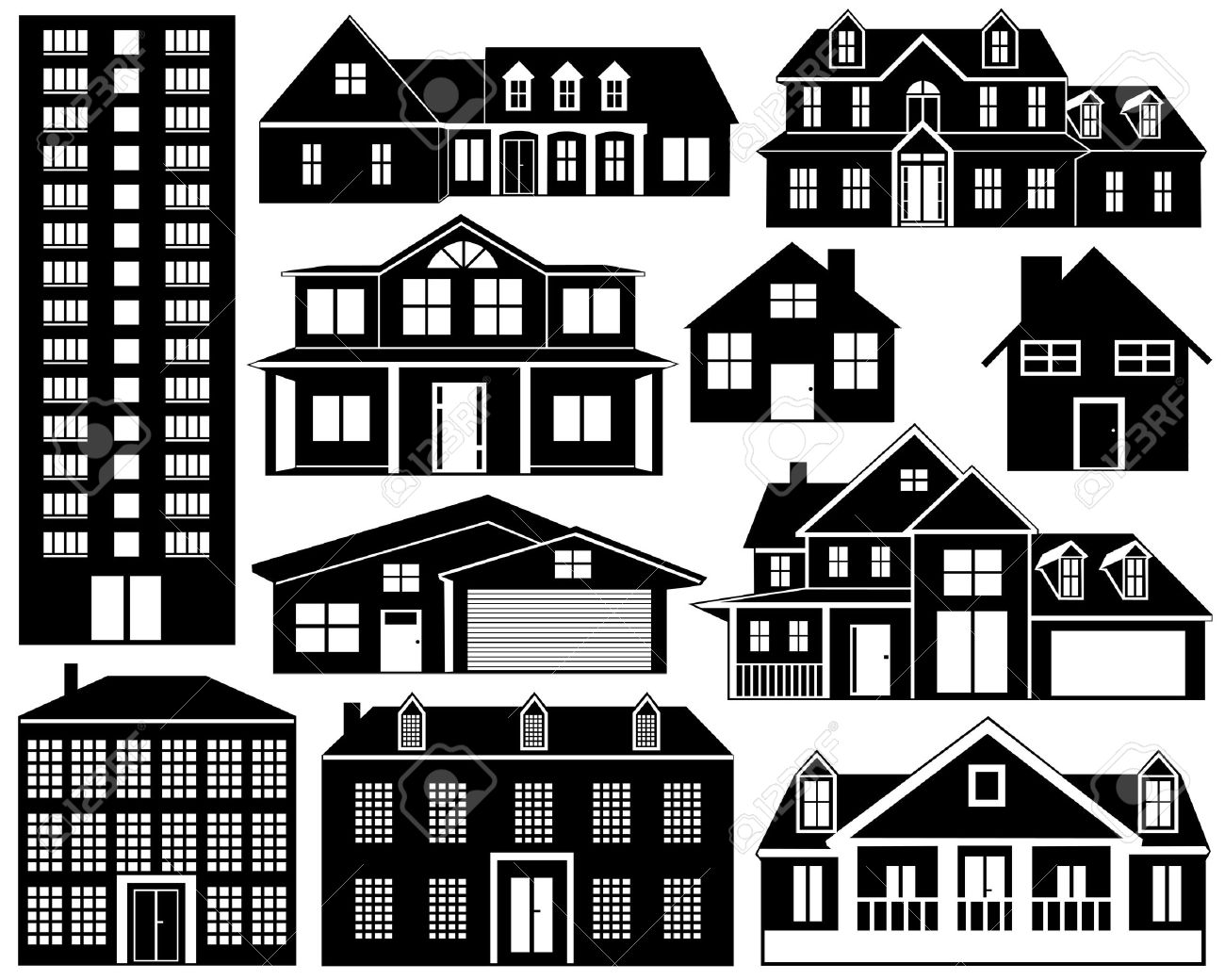 House silhouettes isolated on white - 12355750