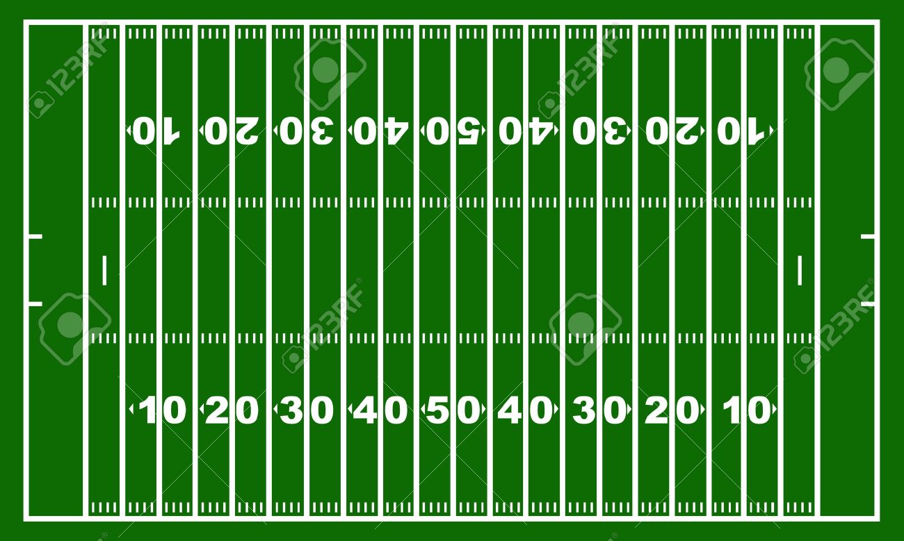 American football field with green in background - 12497335