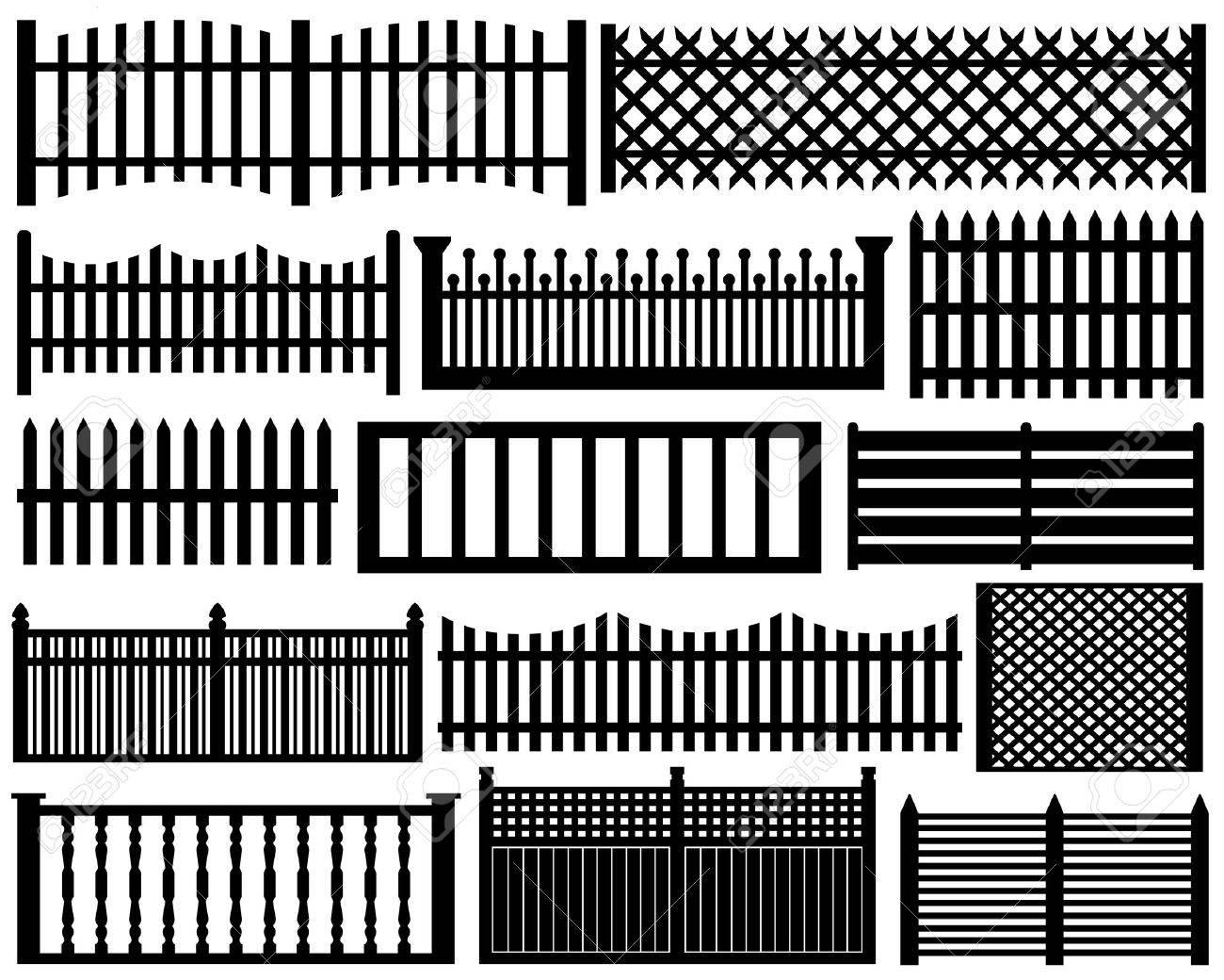 Fence set isolated on white - 12497339