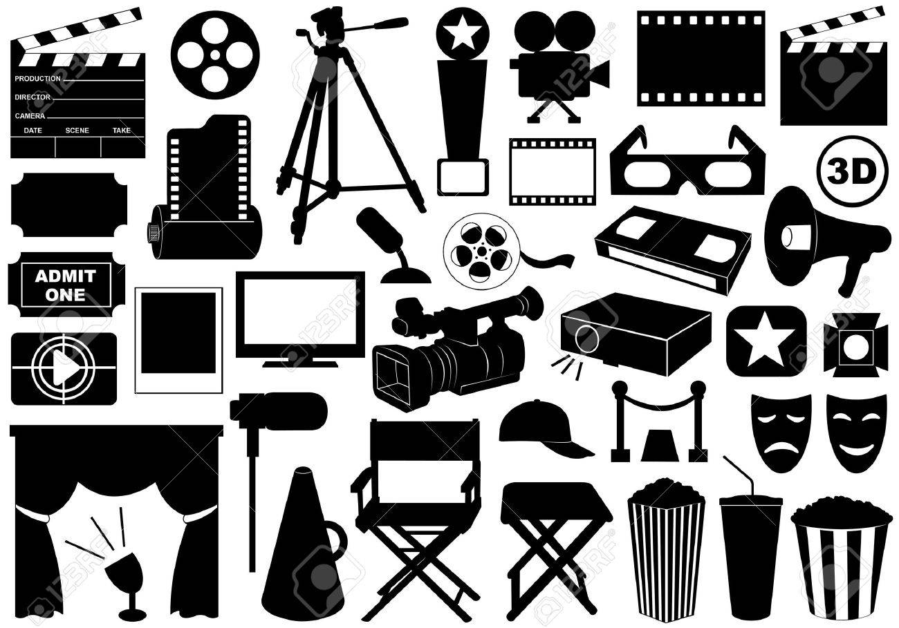 Movie related elements isolated on white - 14410396