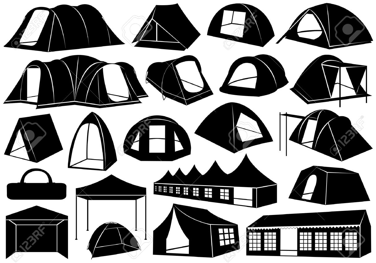 Set of tents isolated on white Stock Vector - 15687163