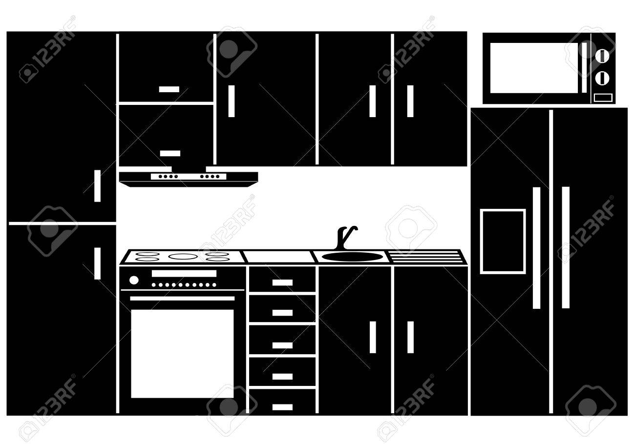 Kitchen Furniture Isolated On White Royalty Free Cliparts, Vectors ...
