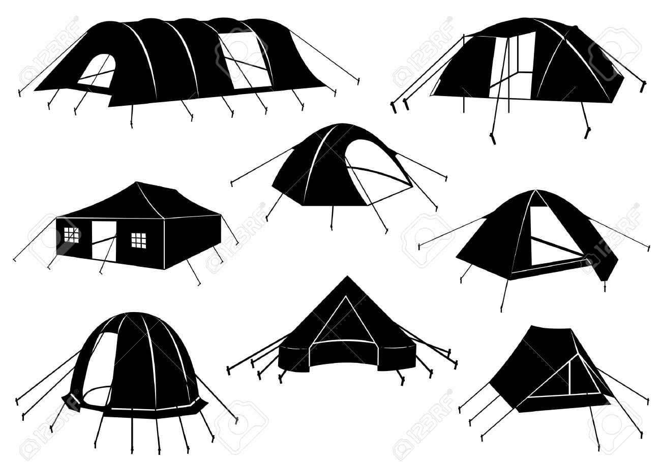 Set of tents isolated on white - 16217000