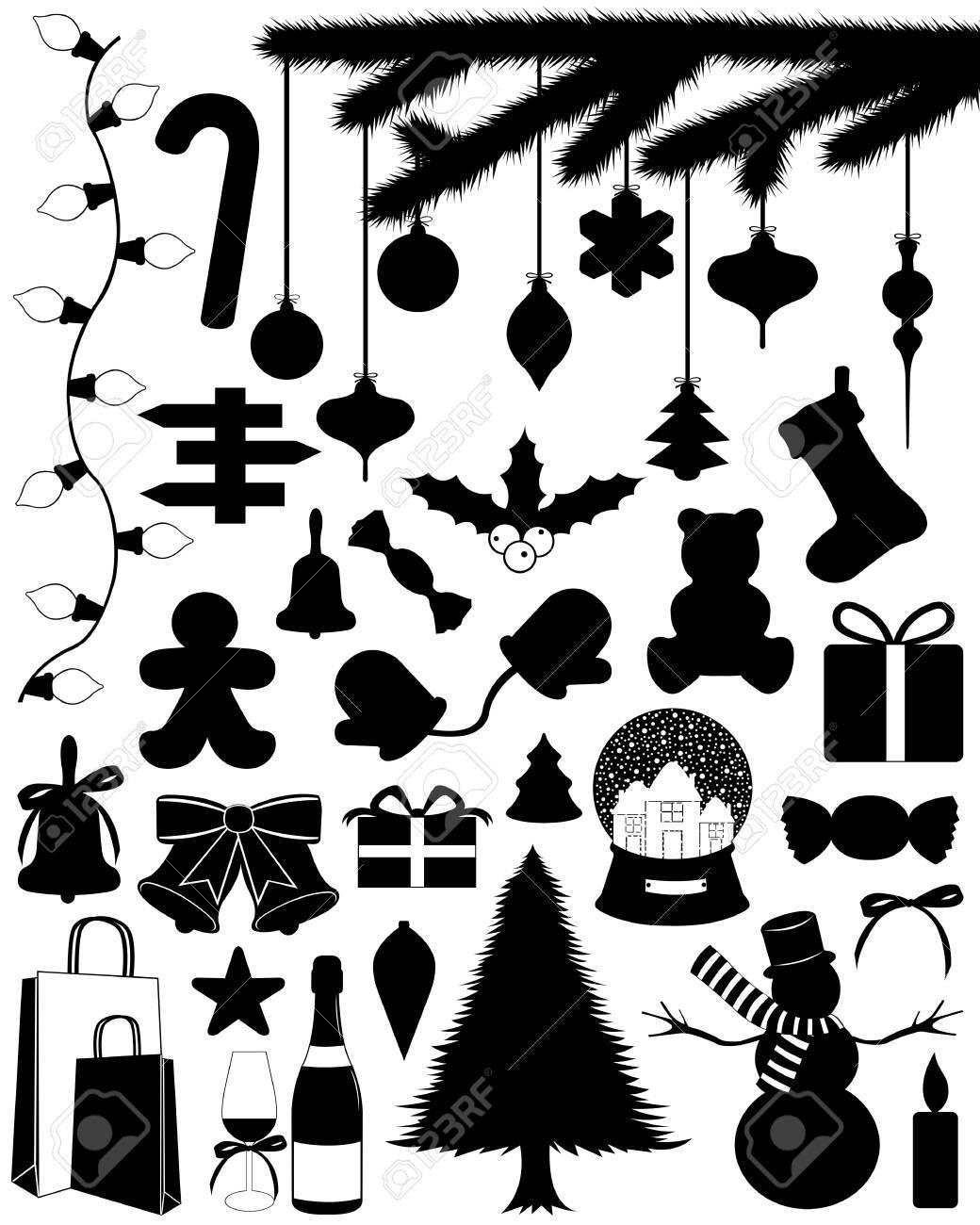 Christmas set isolated on white - 16692035