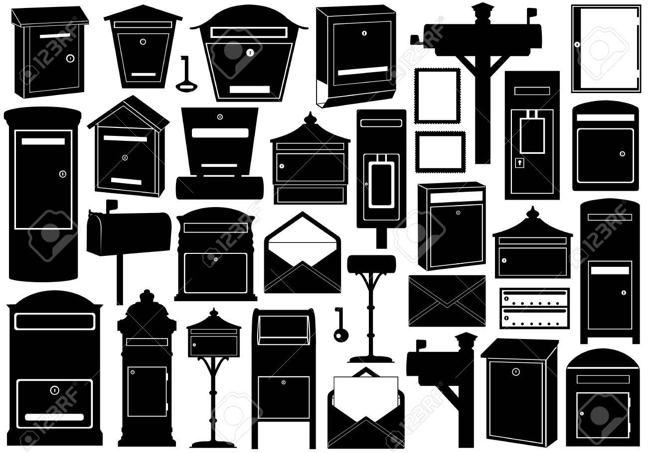 Set of different mailboxes isolated on white - 18812557