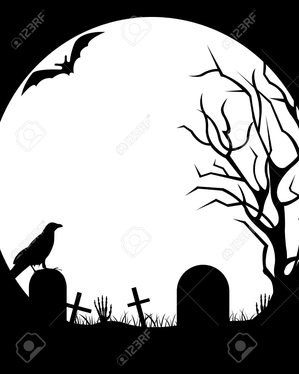 Halloween illustration with moon in background - 23052647