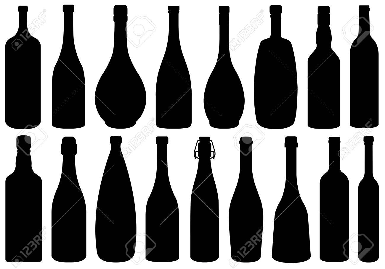 Set of different glass bottles isolated on white - 23902896